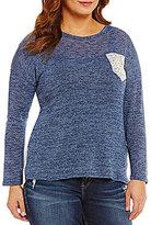 Moa Moa Plus Lace Pocket Chiffon Back Sweater
