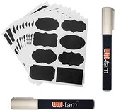 UNI-FAM Chalkboard Labels, 80 Premium Stickers for Jars + 2 Erasable White Chalk Markers