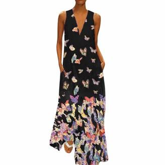NEEDRA SALES Women Sexy V Neck Casual Butterfly Print Sleeveless Loose Beach Boho Maxi Dress