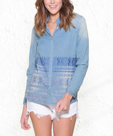 Paparazzi Blue Chambray Geometric Embroidered Long-Sleeve Snap Button-Up