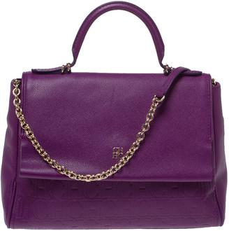 Carolina Herrera Purple Leather Minuetto Flap Top Handle Bag