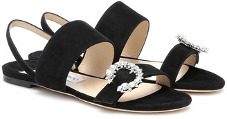Jimmy Choo Sue flat crystal-embellished sandals