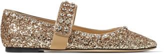 Jimmy Choo MINETTE FLAT Metallic Gold Glitter Fabric Ballet Flats with Crystal Embellishment