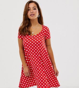 Brave Soul Petite swing dress in red polka dot