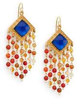 Stephanie Kantis Olympia London Blue Crystal & Carnelian Tassel Earrings