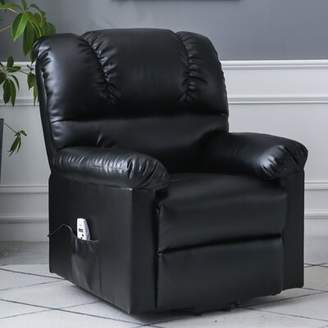Abert Reclining Heated Full Body Massage Chair with Ottoman Winston Porter Fabric: Faux leather Black