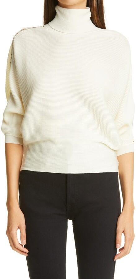 Chloé Lace Inset Rib Wool Turtleneck Sweater