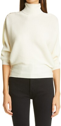 Chloé Lace Inset Rib Wool Turtleneck Sweater