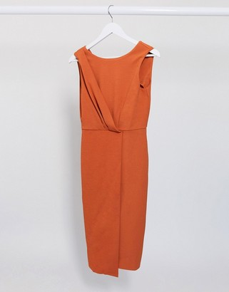 Closet London pleated front pencil dress in terracotta