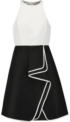 Halston Ruffled Two-tone Cotton And Silk-blend Mini Dress