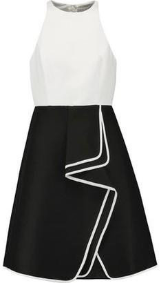 Halston Ruffled Two-tone Cotton And Silk-blend Mini Dress