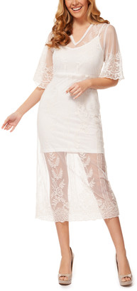 Devoted Women's Special Occasion Dresses 70047-IVORY/VINTAGE - Ivory Floral Embroidered Lace-Overlay Midi Dress - Women
