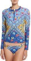 Nanette Lepore Woodstock Rashguard Swim Top, Blue-Multi