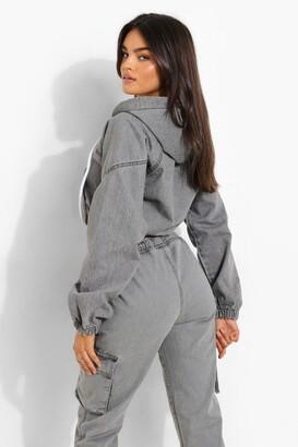 boohoo Cropped Denim Zip Through Hooded Jacket