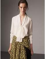 Burberry Tie-neck Bib Detail Silk Tunic , Size: 02, White
