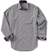 Thomas Dean Check Dobby Long-Sleeve Woven Shirt