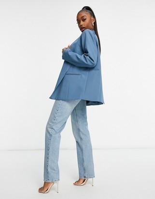 Public Desire oversized mansy blazer co-ord in grey blue