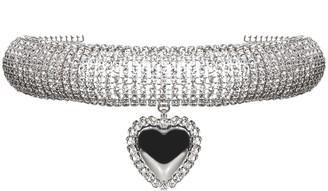 Alessandra Rich Embellished Heart Choker Necklace