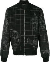 Versace Baroque embroidered bomber jacket - men - Cotton/Lamb Skin/Polyester - 48