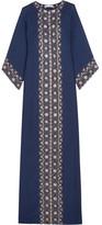 Oscar de la Renta Crystal-embellished Embroidered Silk Gown - Navy