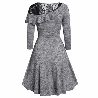 KPILP Womens Swing Dress Long Sleeve Asymmetric Lace Hollow A Line Solid Color Fashion Round Neck Casual Mini Dress Ladies Summer Leisure Elegant Dresses(Gray M)