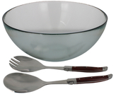 French Home Urban Salad Bowl and Laguiole Connoisseur Stainless Steel Salad Servers Set (3 PC)