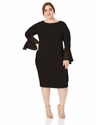 Calvin Klein Women's Size Solid Sheath with Chiffon Bell Sleeves Dress