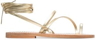 K. Jacques Ellada metallic flat sandals