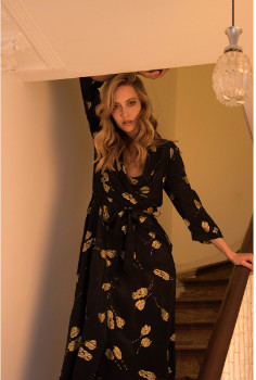 Bailey & Buetow - Black Viscose Gold Printed Tulip Dress - viscose | black with gold | xs