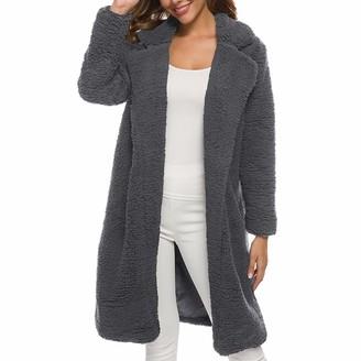 MENAB Women Casual Open Front Long Sleeve Fluffy Cardigan Coat Knitted Sweater Outwear Pockets Long Cardigans with Pockets Chunky Open Front Long Sleeve Knitwear Oversized Fall Winter Casual Sweater