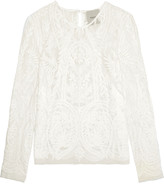 Michelle Mason Embroidered cotton-blend tulle top