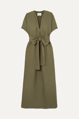 Lisa Marie Fernandez Rosetta Belted Linen Maxi Dress - Army green