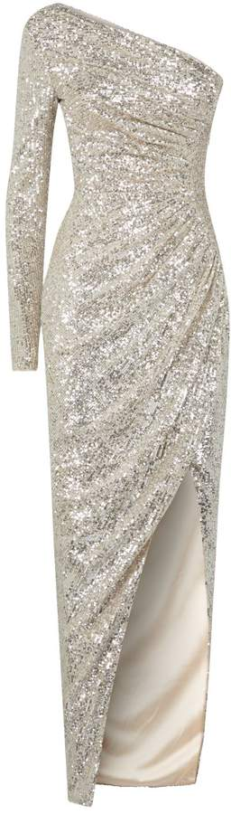 Rasario One-Shoulder Sequin Gown
