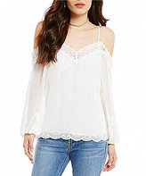 WAYF Amelia Lace-Trimmed Cold-Shoulder Blouse