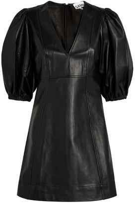 Ganni Leather Puff-Sleeved Mini Dress