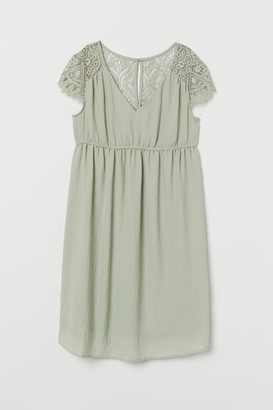 H&M MAMA Lace-yoke Dress - Green