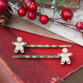Ginger Pickle Wooden Gingerbread Man Hair Grips