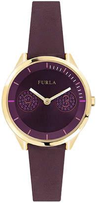 Furla 31mm Metropolis Leather Watch, Purple