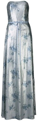 Marchesa Notte Strapless Printed Sequin Gown