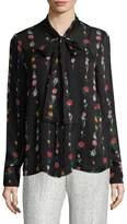 Oscar de la Renta Women's Tie-Accented Silk Blouse