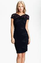 Betsy & Adam Sequin Lace Trim Pleated Jersey Dress