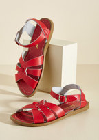Salt Water Leather Sandal in Red in 4 UK