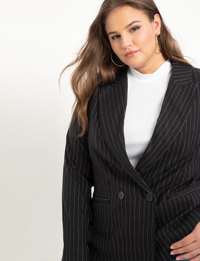 ELOQUII Double Breasted Pinstripe Blazer