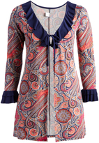 Glam Pink Abstract Tie-Front Open Cardigan - Plus