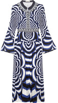 Mary Katrantzou Desmine Pleated Printed Silk Crepe De Chine Dress - Indigo