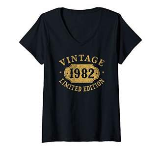 Womens 37 years old 37th Birthday Anniversary Gift Limited 1982 V-Neck T-Shirt