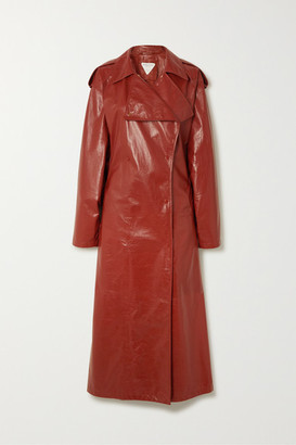 Bottega Veneta Crinkled Glossed Leather Trench Coat - Orange