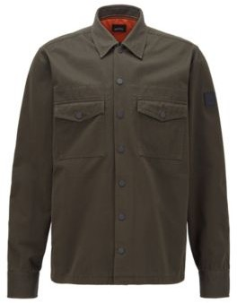 HUGO BOSS Oversized-fit shirt in cotton twill with collection embroidery