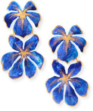 We Dream In Colour Tahiti Flower Earrings, Blue