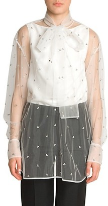 Valentino Embellished Sheer Tulle Tieneck Blouse